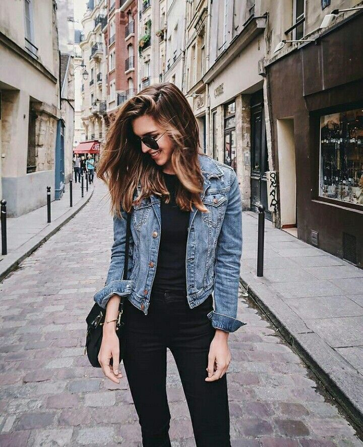 denim jacket and black