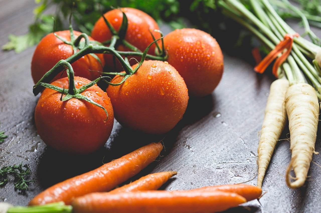 Tomatoes, carrots, vegetables