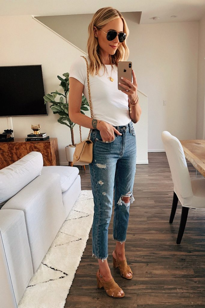 Jeans and tops with sling bags