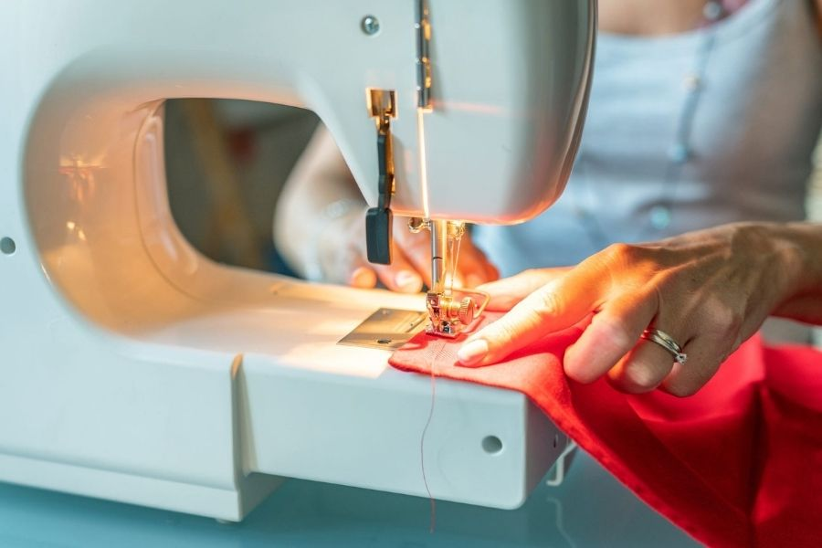 You can get fancy stitches with a sewing machine