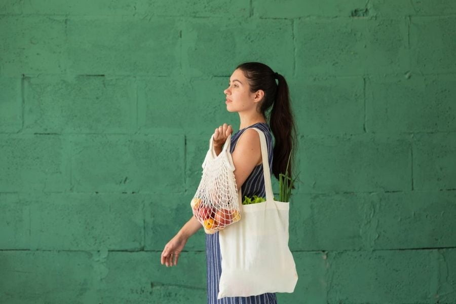 Cotton bags over plastic
